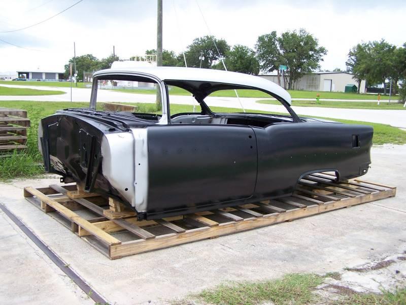 1955 chevy 2 door hardtop body skeleton with dash quarter for 1955 chevy 4 door to 2 door conversion