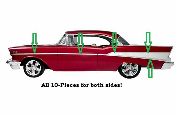 1957 Chevy 210 Bel Air Complete Side Stainless Trim Set 10 Pcs