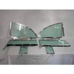 1955-57 Chevy 2-Door Hardtop 6-Piece Side Glass Chrome Frames Installed With Smoke Gray Glass