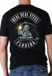 Black Real Deal Steel 100% Cotton T-Shirt Large