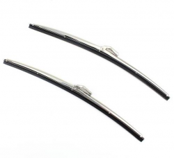 1955-57 Chevy Polished Stainless Steel Wiper Blade With Rubber Inserts Vacuum Or Electric Pair