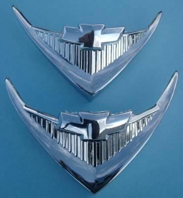 1956 Chevy Nomad Chrome V8 Under Taillight Emblems