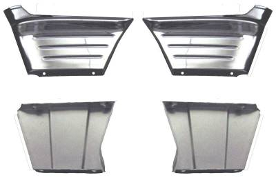 1956 Chevy Chrome Front Fender Outer Ribbed Extensions With Backing Plates