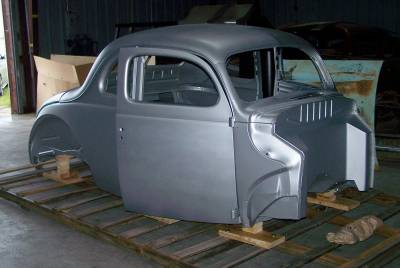 1940 Ford Coupe Body With Recessed Firewall, Doors & Deck Lid