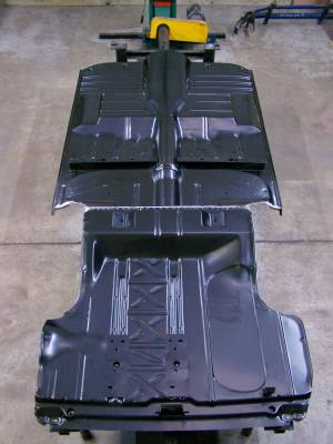 GM - 1955-57 Chevy 2-Door Hardtop Fully Welded Floor With Braces And Spare Tire Delete Trunk Floor Narrowed For Wider Wheel Tubs