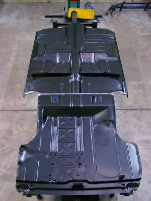 1955-57 Chevy Convertible Fully Welded Floor With Braces And Spare Tire Delete Trunk Floor Narrowed For Wider Wheel Tubs