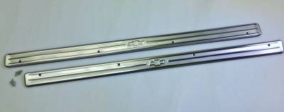1955-57 Chevy 2-Door Stainless Steel Bowtie Sill Plates Pair