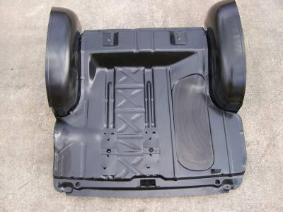 GM - 1955-57 Chevy Wider Trunk Wheel Well Tubs & Pre-Narrowed Trunk Floor Kit