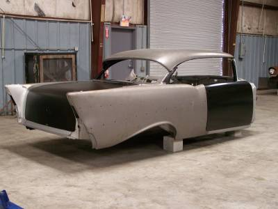 1957 Chevy 2-Door Hardtop Body Skeleton With Dash, Quarter Panels, Doors & Deck Lid