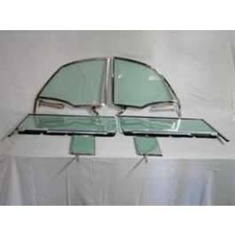 1955-57 Chevy Convertible 6-Piece Side Glass Chrome Frames Installed With Clear Glass