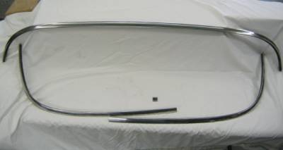 1956-57 Chevy 4-Door Hardtop Restored Back Glass Stainless Set - 4 Pieces