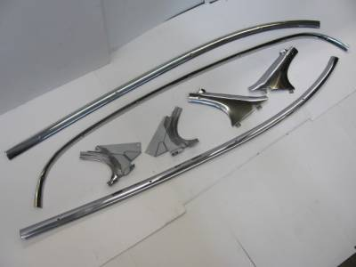 1955-57 Chevy Bel Air 2-Door Hardtop Restored Interior Headliner Stainless Trim - 7-Pieces
