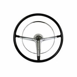 """1955-56 Chevy Bel Air Black 16"""" Steering Wheel Kit Complete"""