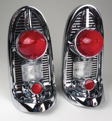 1956 Chevy Chrome Taillight Housing Assemblies Complete Pair