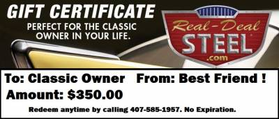 Real Deal Steel Holiday Gift Certificate