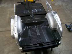 1955-57 Chevy Convertible Fully Welded Floor With Braces And Spare Tire Delete Trunk Floor Narrowed For Wider Wheel Tubs - Image 2