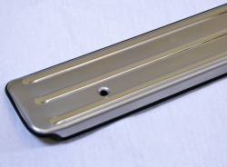 1955-57 Chevy 2-Door Stainless Steel Bowtie Sill Plates Pair - Image 3