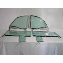1955-57 Chevy - Side Glass - 1955-57 Chevy Convertible 6-Piece Side Glass Chrome Frames Installed With Gray Smoke Glass