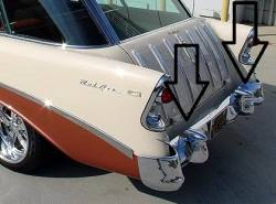 1956 Chevy Nomad & Station Wagon Chrome Rear Bumper Guards With License Lights - Image 2