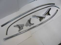 1955-57 Chevy - Back Glass/Rear Deck Panel - 1955-57 Chevy Bel Air 2-Door Hardtop Restored Interior Headliner Stainless Trim - 7-Pieces