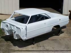 Bodies - Chevy II/Nova - 1966-67 Chevy II Body Shell Mini-Tubbed Column Shift Bench Seat With Quarter Panels & Top Skin