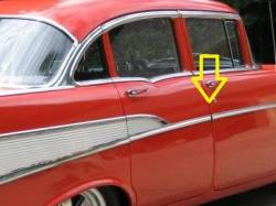 1957 Chevy 210 & Bel Air 4-Door Sedan & Station Wagon Center Post Chrome Divider Trim Pair - Image 2