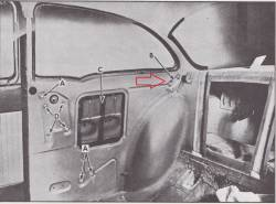 1955-57 Chevy 2-Door Sedan Left Curved Small Quarter Window Track - Image 2