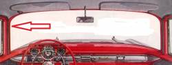 1955-57 Chevy 2&4-Door Sedan & Station Wagon Except Nomad Used Leftt Vertical Inside Windshield Garnish Molding - Image 2