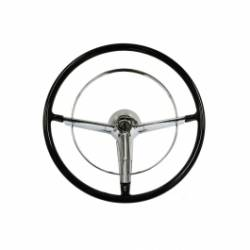 "1955-57 Chevy - Interior - 1955-56 Chevy Bel Air Black 18"" Steering Wheel Kit Complete"
