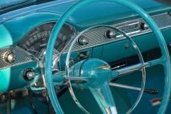 1955-56 Chevy Bel Air V8 Gold Horn Cap Emblem - Image 2