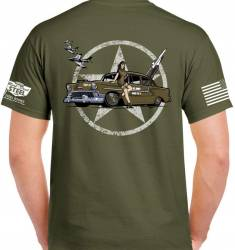 1949-54 Chevy - Gift & Apparel - Army Green 1956 Real Deal Steel 100% Cotton T-Shirt Large