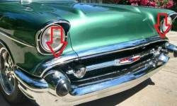 1957 Chevy Chrome Hoodbar Extensions Pair - Image 2