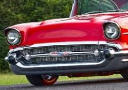 1957 Chevy Chrome Hoodbar And Extensions Set - Image 2