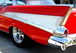 GM - 1957 Chevy Bel Air 2-Door Quarter Panel Aluminum Inserts W/O Scripts Pair - Image 2