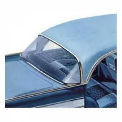 1955-57 Chevy - Back Glass/Rear Deck Panel - 1956-57 Chevy 4-Door Hardtop Sport Sedan Green Tint Back Glass