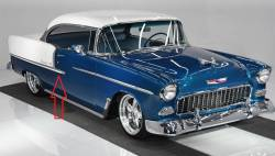 1955 Chevy Bel Air 2-Door Hardtop & Convertible Right Lower Stainless Steel Door Molding - Image 2
