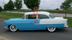 1955 Chevy Bel Air 2-Door Sedan Left Lower Stainless Steel Door Molding - Image 2