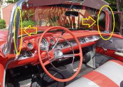"GM - 1955-57 Chevy Convertible Inner Vertical Windshield Chrome ""A-Pillar"" Moldings Pair - Image 5"