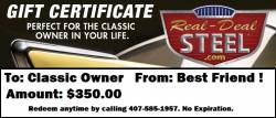 Parts - Real Deal Steel Holiday Gift Certificate